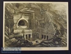 India - Buddhist Rock-Cut Temple^ Ajunta 1876 original engraving with text information to reverse^
