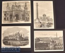 India – Lucknow – 4x 19th Century Original engravings The Imaumbarra 1858 24x18cm^ Gate of the