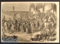 India and Punjab– Very Scarce Engraving The Court of Runjeet Singh at Lahore after a painting by A