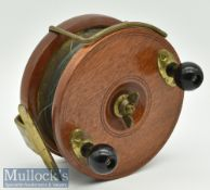 "Peetz Tackle Canada 4 3/4"" wood and brass sea reel Nottingham style^ with twin bulbous handles^ wing"