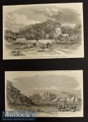 Sikh War 1849 – Two Original Engravings to include Ruins of The Fort at Rhotas by GT Vigne and
