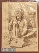 India – Wood Carver Print W. Griggs photo-litho. London mounted measures 37x49cm