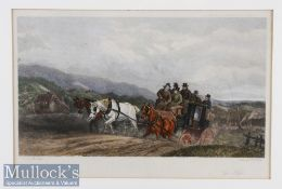 Hand coloured Etching 'Up Hill' Coaching Scene painted by W J Shayer^ etched by A H Phillips^ framed