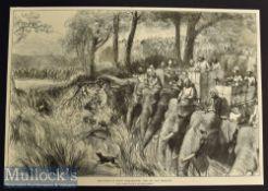 India – Large Original 1876 Engraving The Prince of Wales Tiger – Shooting with Sir Jung Bahadoor