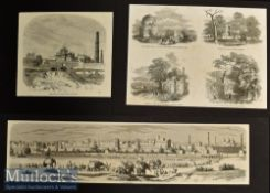 India and Punjab– The City of Lahore Original Panoramic Engraving 1857 showing troops with