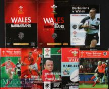 1990-2012 Wales v Barbarians Rugby Programmes (8): All at Cardiff except 2004 at Ashton Gate,