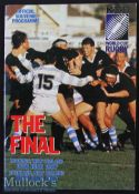 1987 Inaugural Rugby World Cup Final Programme: New Zealand All Blacks v France (29-9) at