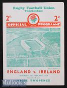 1939 England v Ireland Rugby Programme: Three way Championship tie season, incl these two nations in