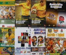 1988-2010 Australia v England Rugby programmes (8): All large colourful A4 issues from Down Under,