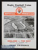 1935 England v The Rest Trial Rugby Programme: Prince Alex Obolensky in action in this December