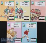 1991 Rugby World Cup Programmes (5): Pool 2 A5 editions, Scotland v Japan, Zimbabwe and Ireland; and