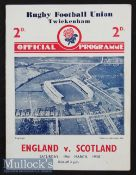 1938 England v Scotland Rugby Programme: In Scotland's Triple Crown/Champs season, 'Wilson Shaw's