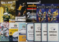 1958-2011 Barbarians (incl 'Away') v Australia Rugby Programmes (12): Incl some large format, a