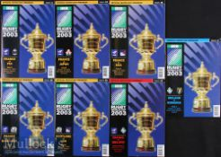 2003 Rugby World Cup Programmes (7): 'Five Nations Countries' Matches, all A5, France v Fiji, Japan,