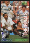1987 Rugby World Cup Finals Programme: The A4 programme issued to cover the quarter-finals and