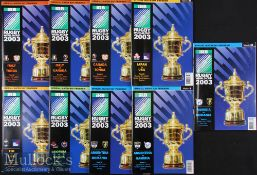 2003 Rugby World Cup Programmes (9): Italy, Argentina & Lower Tier Nations' Pool games, all A5.