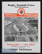 1937 England v The Rest Trial Rugby Programme: January's Final Twickenham trial. The normal 4pp