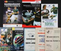 1952-2010 Barbarians (incl French) v S Africa Rugby Programmes (8): To include both the official and