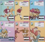 1991 Rugby World Cup Programmes (6): Pool 1 A5 issues from England v NZ, Italy and USA; NZ v USA and
