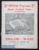 1933 England v Wales Rugby Programme: Famous first Welsh win at Twickenham, 7-3. Somewhat worn,