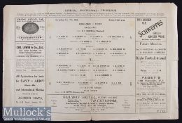 Rare 1922 England v The Rest Trial Rugby Programme: Newspaper-style double sided folded sheet, a tad