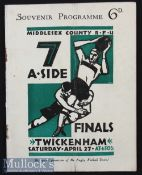 Scarce 1929 Middlesex Sevens Rugby Programme: The fourth tournament, an issue along the standard