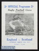 1932 England v Scotland Rugby Programme: In a season ending with England in a three-way tie for