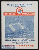1934 England v Scotland Rugby Programme: In an England Triple Crown/Champs season, crisp clean