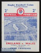 1937 England v Wales Rugby Programme: Slightly creased and with one small edge tear, standard