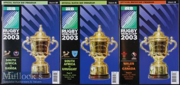 2003 Rugby World Cup Programmes (3): Pool games, A5; Wales v Canada, and S Africa v Uruguay & v