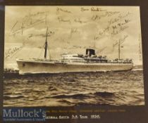 1939 Football Association Tour of South Africa Signed Photograph The Union Castle Royal Mail Motor