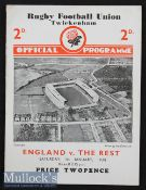 1938 England v The Rest Final Trial Rugby Programme: Lovely clean un-creased 4pp card for this