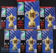 2003 Rugby World Cup Programmes (6): New Zealand selection from the tourney, Pool games v Italy,