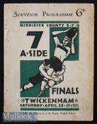 Scarce 1928 Middlesex Sevens Rugby Programme: Only the third held, an iconic design with green &
