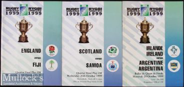 1999 Rugby World Cup Final etc Programmes (3): The three play offs for the Quarter-Finals, England v