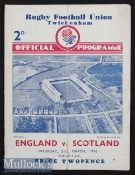 1936 England v Scotland Rugby Programme: The 4pp Twickenham card for another Obolensky outing and