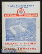 1935 England v The Rest Final Trial Rugby Programme: Pocket fold and damp-darkening to two