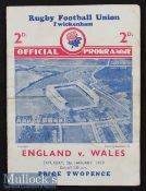 1939 England v Wales Rugby Programme: Somewhat stiff and wrinkled but whole, legible and