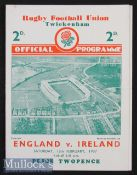 1937 England v Ireland Rugby Programme: In an England Triple Crown/Champs season, lovely clean