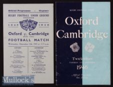 1945 & 1946 Oxford v Cambridge Varsity Match Rugby Programmes (2): Nice pair, the quite rare first