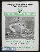 1935 England v Ireland Rugby Programme: In Ireland's Championship season, some wear & pocket fold