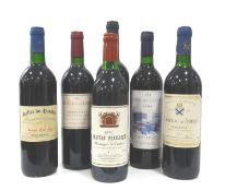 SIX BOTTLES OF FRENCH VINTAGE RED WINE A selection of six bottles, comprising: one CHATEAU PLAISANCE