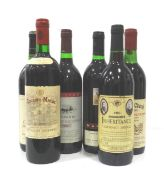 SELECTION OF SIX BOTTLES OF NEW WORLD RED WINE comprising: one MCWILLIAM'S INHERITANCE 1983
