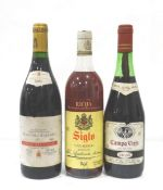 SELECTION OF THREE BOTTLES OF RIOJA comprising: one Campo Viejo Rioja 1979 Vintage (70cl) approx.