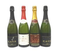 SELECTION OF FOUR BOTTLES OF CAVA comprising: one M&S Cava Prestige Brut (75cl/ 11.5% abv); one M&