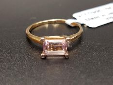 CERTIFIED KUNZITE AND DIAMOND DRESS RING the emerald cut Mawi Kunzite weighing 1.23cts with small