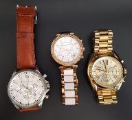 THREE MICHAEL KORS WRISTWATCHES comprising model numbers MK-8545, MK-5774 and MK-5605