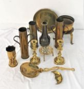 SELECTION OF BRASSWARE including candlesticks, skimming spoon, toasting fork, trench art vases,