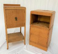 JOHN ALEXANDER OF ABERDEEN LIGHT OAK BEDSIDE CUPBOARD with a raised back and moulded top above a