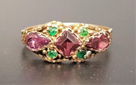 UNUSUAL VICTORIAN PINK AND GREEN GEM SET RING in fifteen carat gold, ring size P